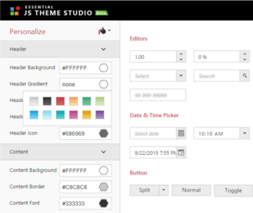 Syncfusion Essential Studio ASP.NET adds Theme Studio.