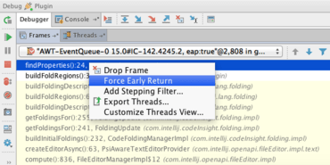 IntelliJ IDEA 15 adds Force Return debug action