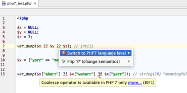 PhpStorm adds PHP 7 Support