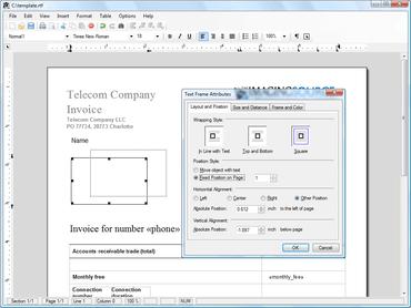 TX Text Control adds Transparent Text Frames