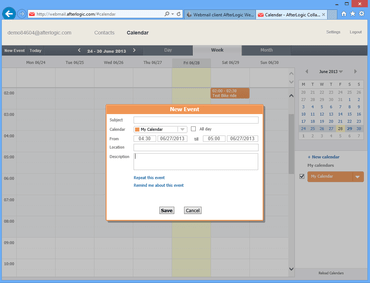 WebMail Pro for PHP adds Address Book and Calendar