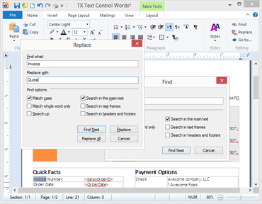 TX Text Control .NET improves Find and Replace