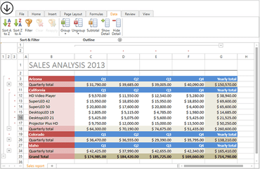 DevExpress WPF adds Spreadsheet Grouping