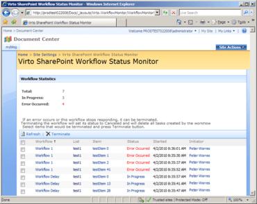 Virto Workflow Status Monitor updated