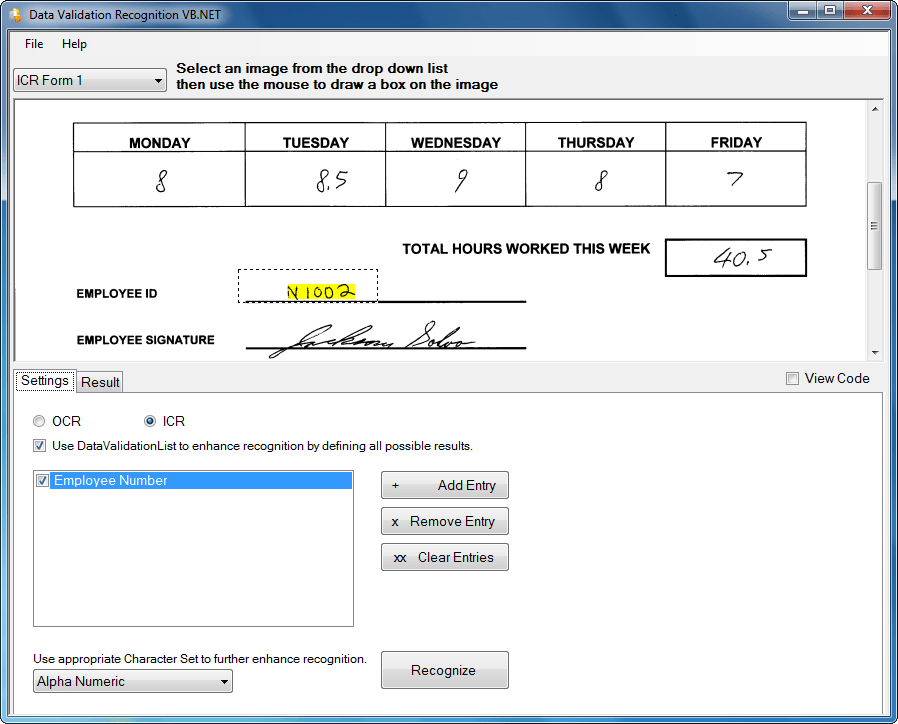 Screenshot of SmartZone ICR/OCR Standard