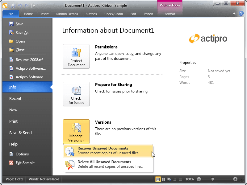 Screenshot of Actipro Ribbon for WPF