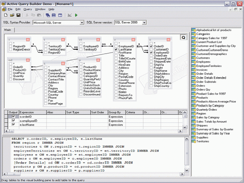 Screenshot of Active Query Builder ActiveX Edition