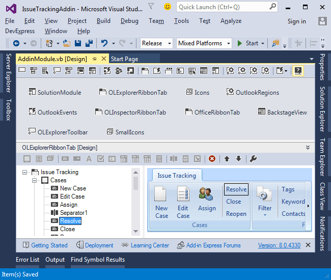 Screenshot of Add-in Express for Microsoft Office and .net