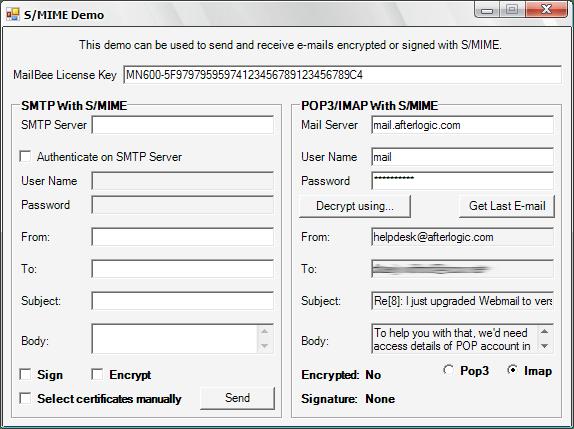 Screenshot of MailBee.NET Security