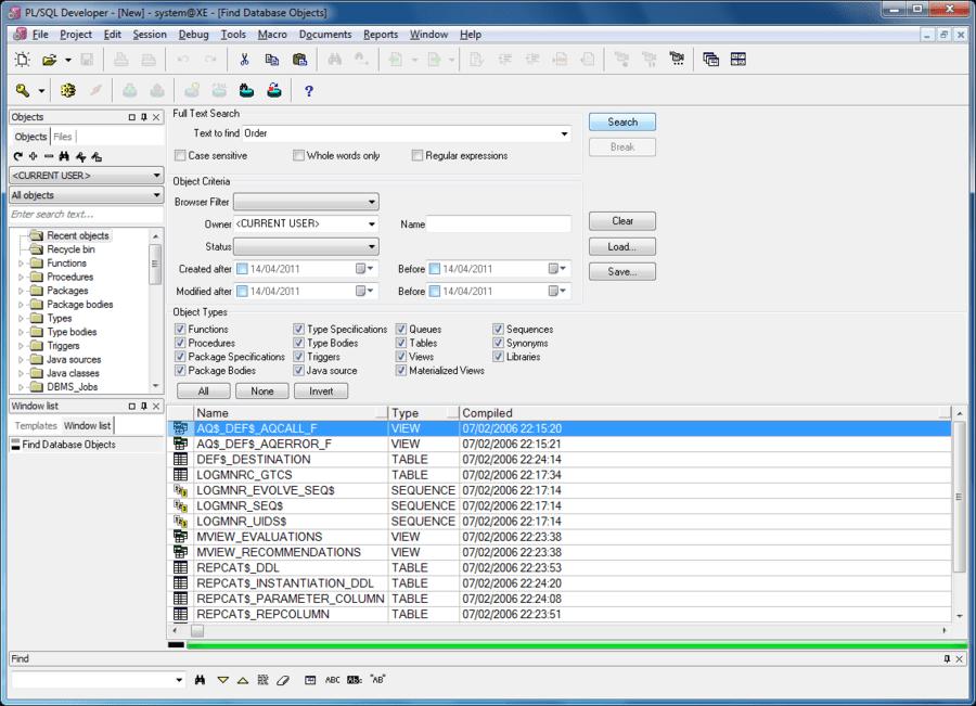 Screenshot of PL/SQL Developer