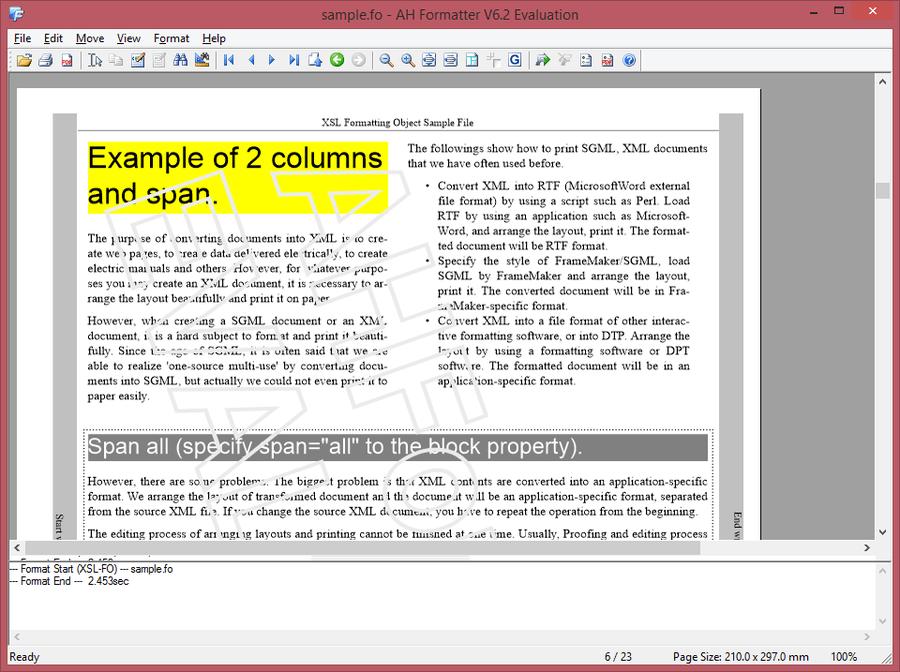 Screenshot of AH XSL Formatter Standard