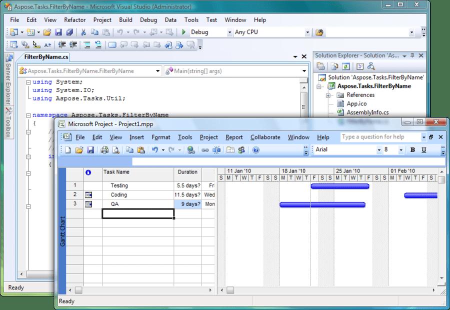 Screenshot of Aspose.Tasks for .NET
