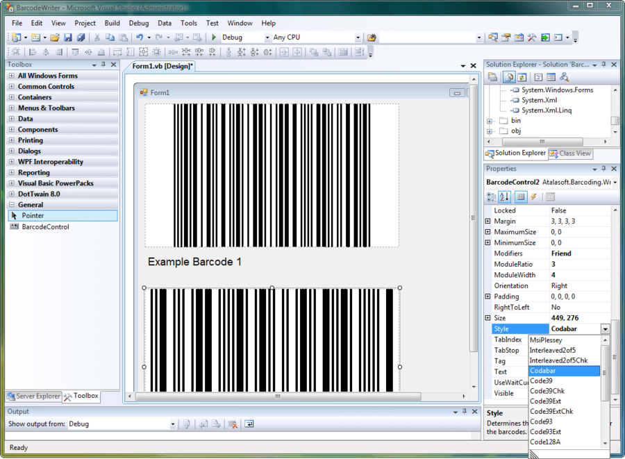 Screenshot of Atalasoft DotImage Barcode Writer Add-On
