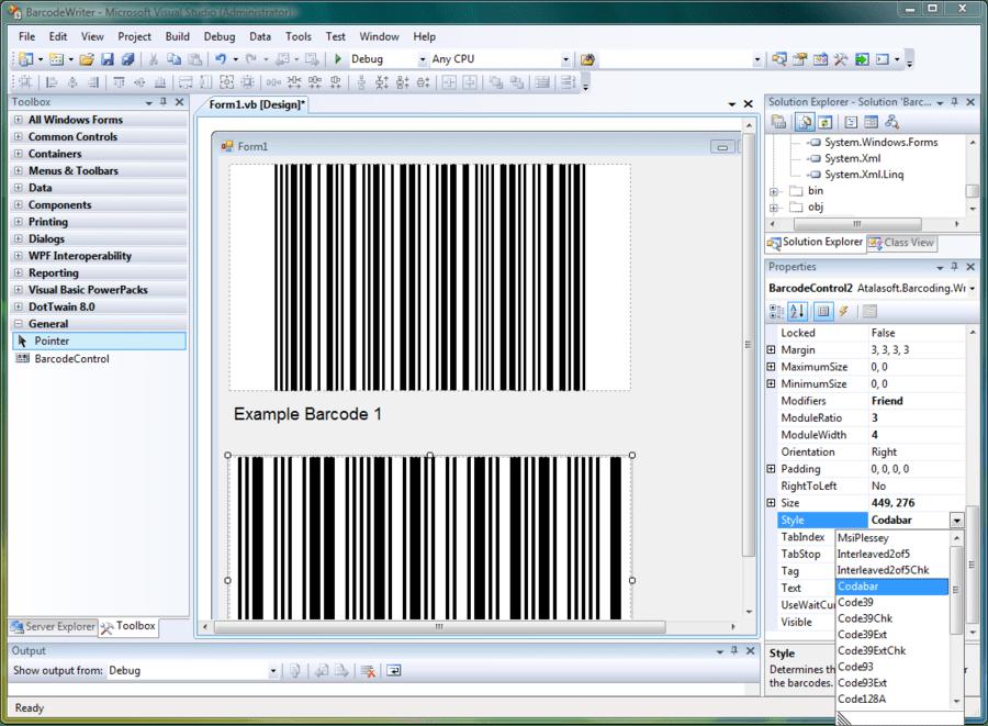 Screenshot of Atalasoft DotImage Barcode Writer Add-On