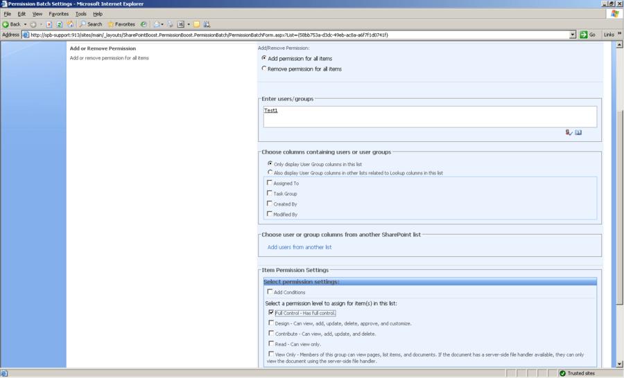 Screenshot of SharePoint Item Permission Batch