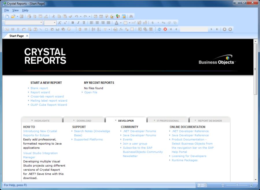 Screenshot of SAP Crystal Reports