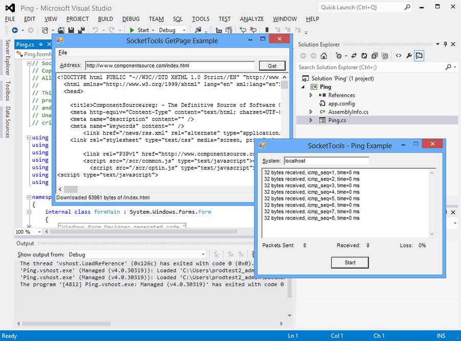 Screenshot of SocketTools Library Edition