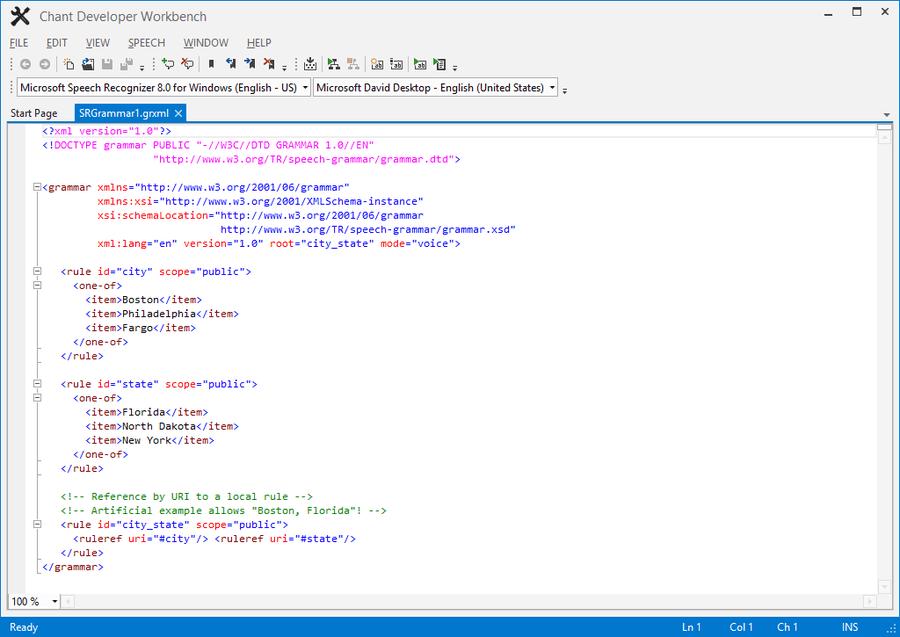 Screenshot of Chant GrammarKit