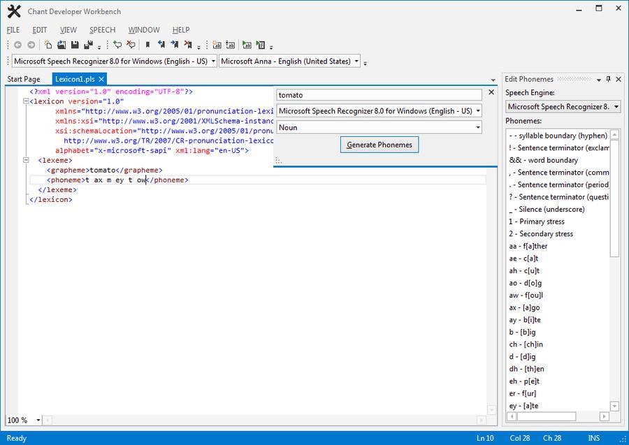 Screenshot of Chant LexiconKit