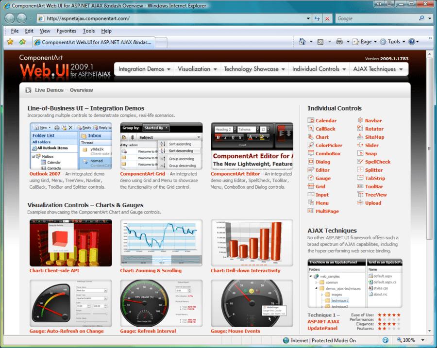 Screenshot of ComponentArt Web.UI for ASP.NET AJAX