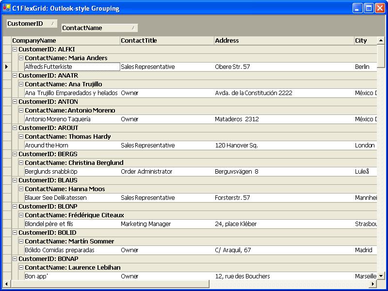 Screenshot of ComponentOne FlexGrid for WinForms