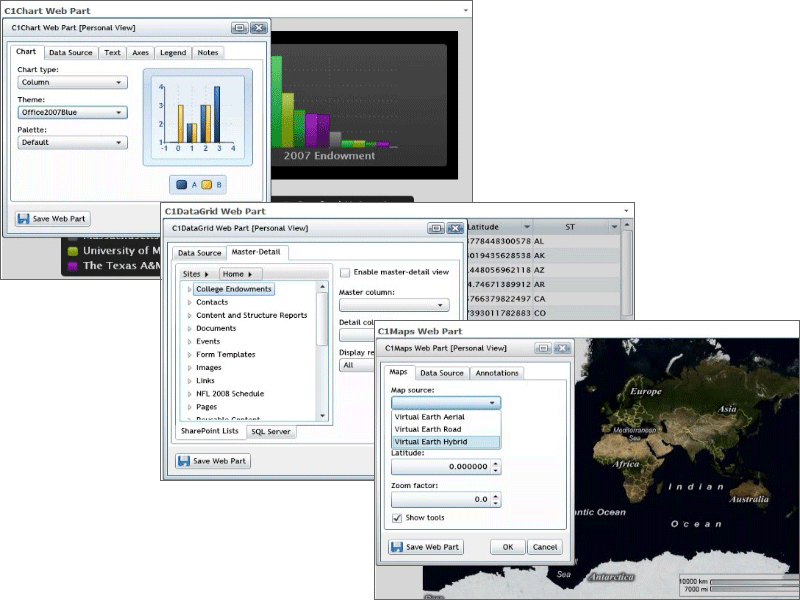 Screenshot of ComponentOne Studio for SharePoint