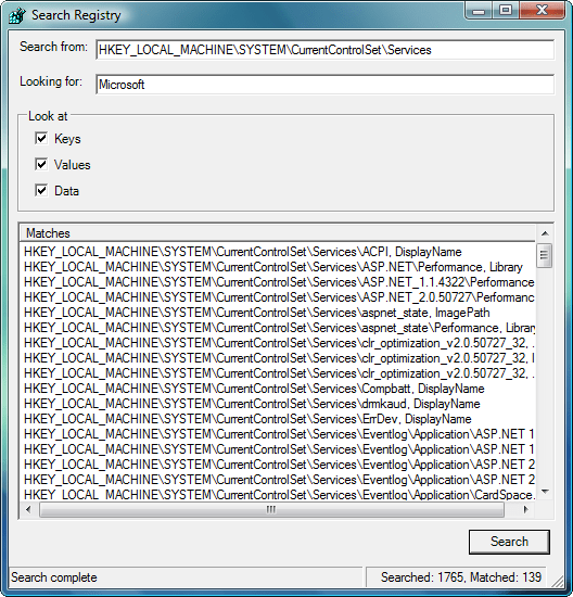 Screenshot of ComponentSpace Windows Registry Component