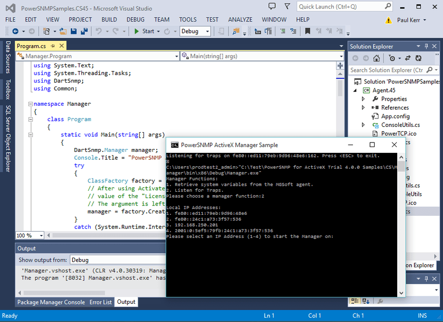Screenshot of PowerSNMP for ActiveX