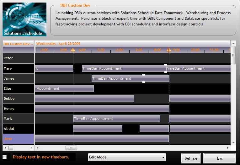 Screenshot of Solutions Schedule for COM