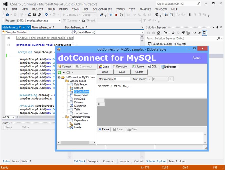 Screenshot of dotConnect for MySQL