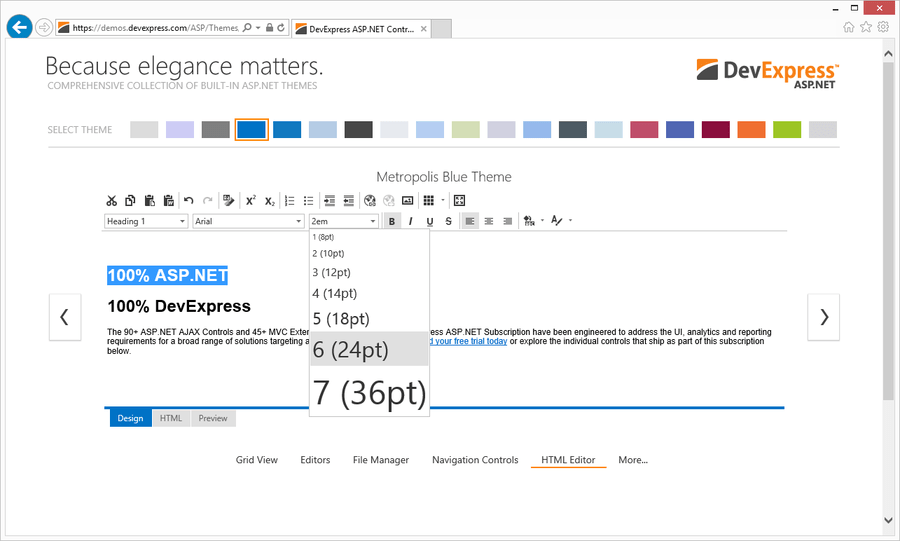 Screenshot of ASPx HTML Editor