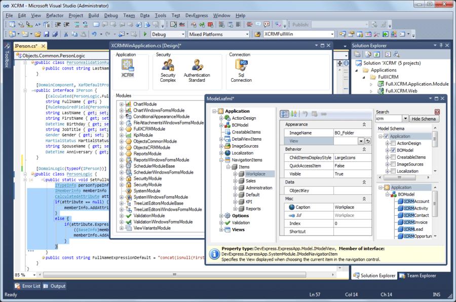 Screenshot of eXpressApp Framework (XAF)