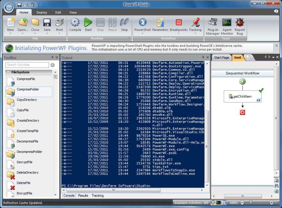 Screenshot of PowerWF - Visual PowerShell