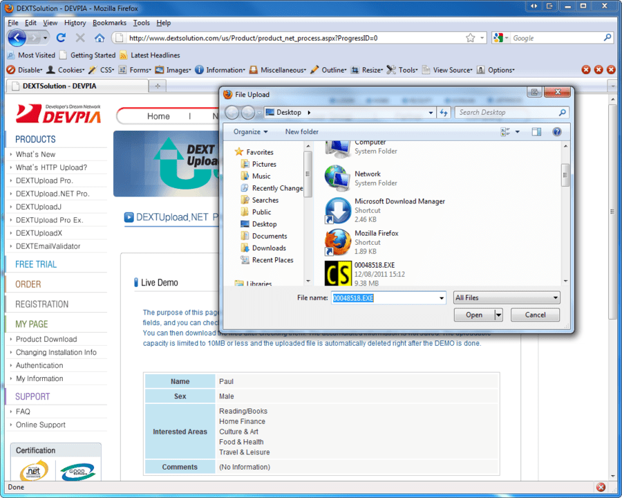 Screenshot of DEXTUpload .NET Pro