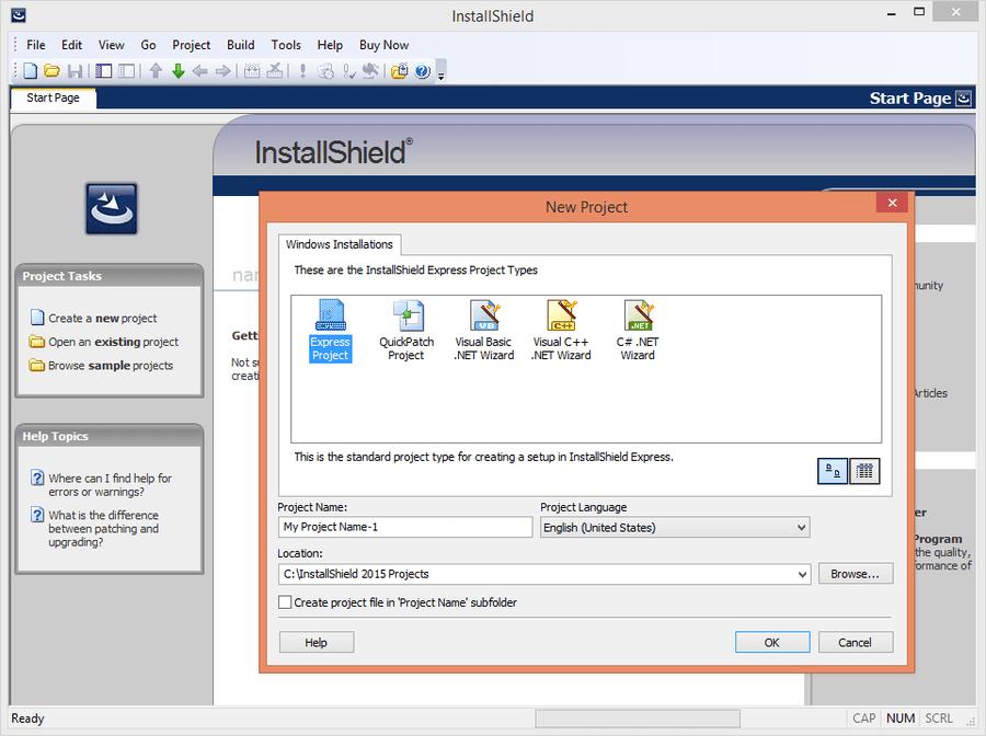 Screenshot of InstallShield Express
