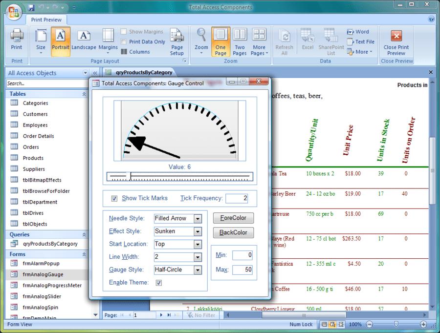 Screenshot of Total Access Components
