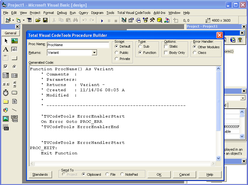 Screenshot of Total Visual Code Tools