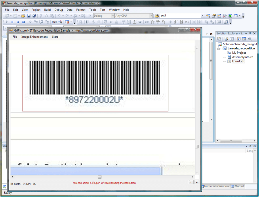 Screenshot of GdPicture.NET 1D Barcode Recognition Plugin