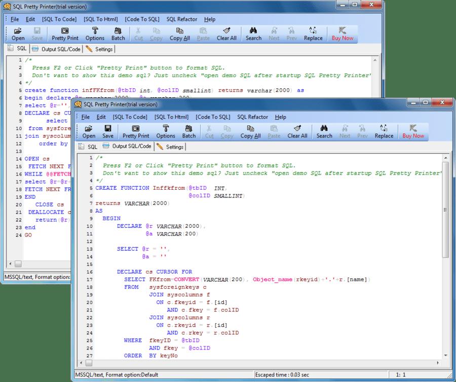 Screenshot of SQL Pretty Printer