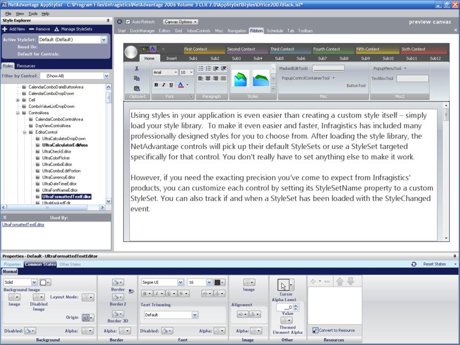 Screenshot of Infragistics NetAdvantage Select