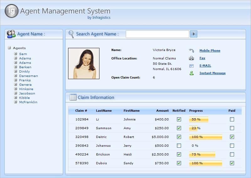 Screenshot of Infragistics NetAdvantage for Web Client