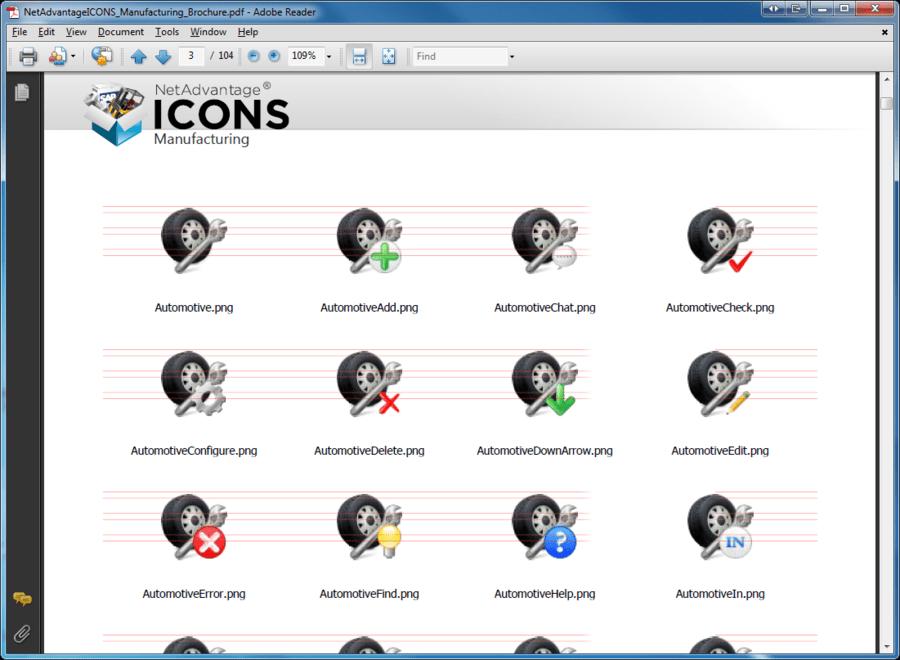 Screenshot of NetAdvantage ICONS Manufacturing Pack