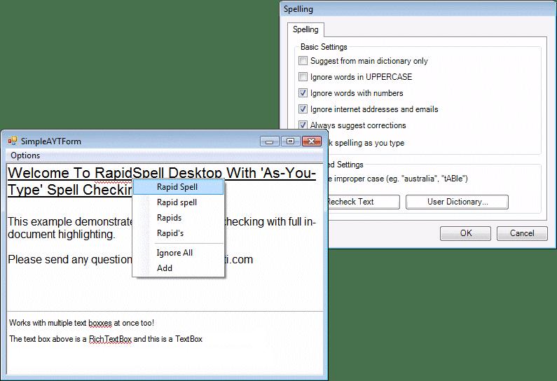 Screenshot of RapidSpell Desktop .NET