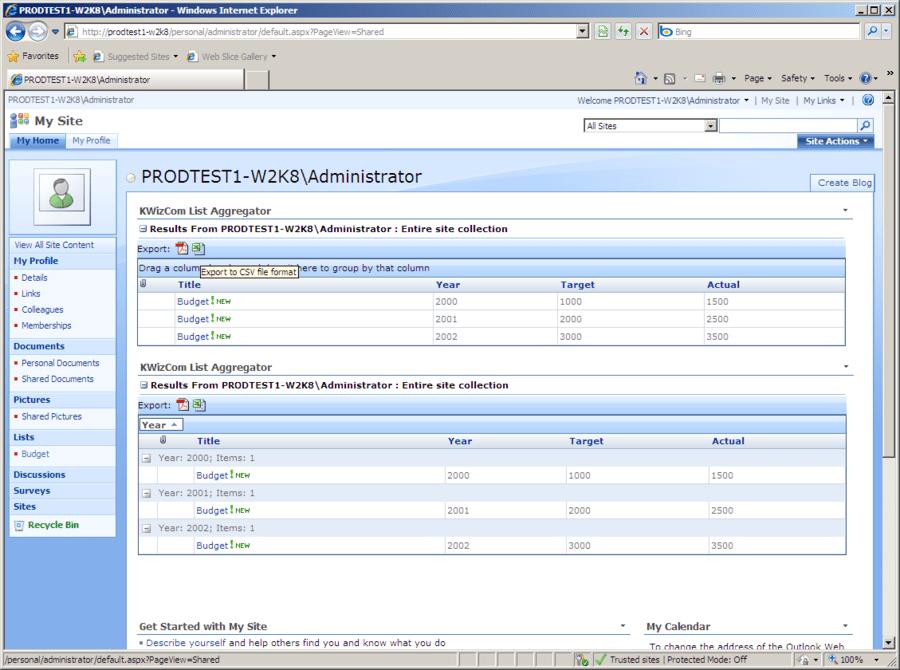 Screenshot of KWizCom SharePoint List Aggregator