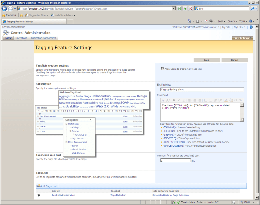 Screenshot of KWizCom SharePoint Tagging Feature