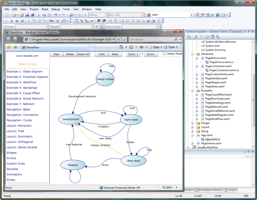 Screenshot of AddFlow for Silverlight Professional