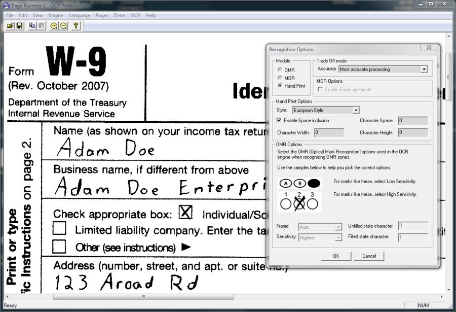 Screenshot of LEADTOOLS ICR Module