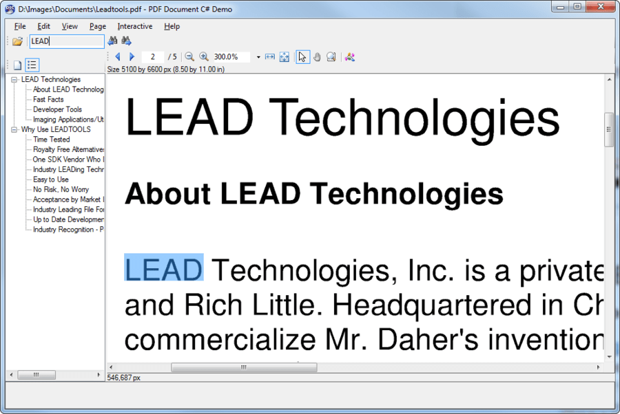 Screenshot of LEADTOOLS Imaging Pro SDK