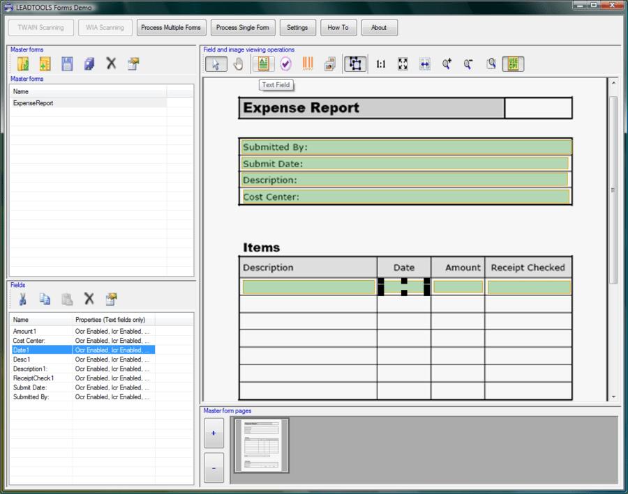 Screenshot of LEADTOOLS Recognition SDK