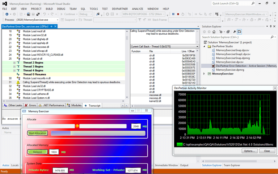 Screenshot of DevPartner for Visual C++ BoundsChecker Suite, Concurrent Users